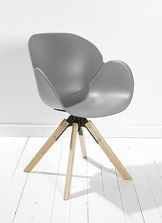 Esszimmerstühle Kunststoff 8er set designer esszimmerstuhl kunststoff grau drehbar mit