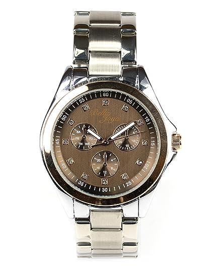 Bella joya Mujer Reloj Venecia, Esfera Café & Acero Inoxidable Banda Plata