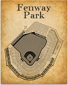 Fenway Park of Boston Baseball Stadium Seating Chart - 11x14 Unframed Art Print - Great Sports Bar Decor and Gift Under $15 for Baseball Fans