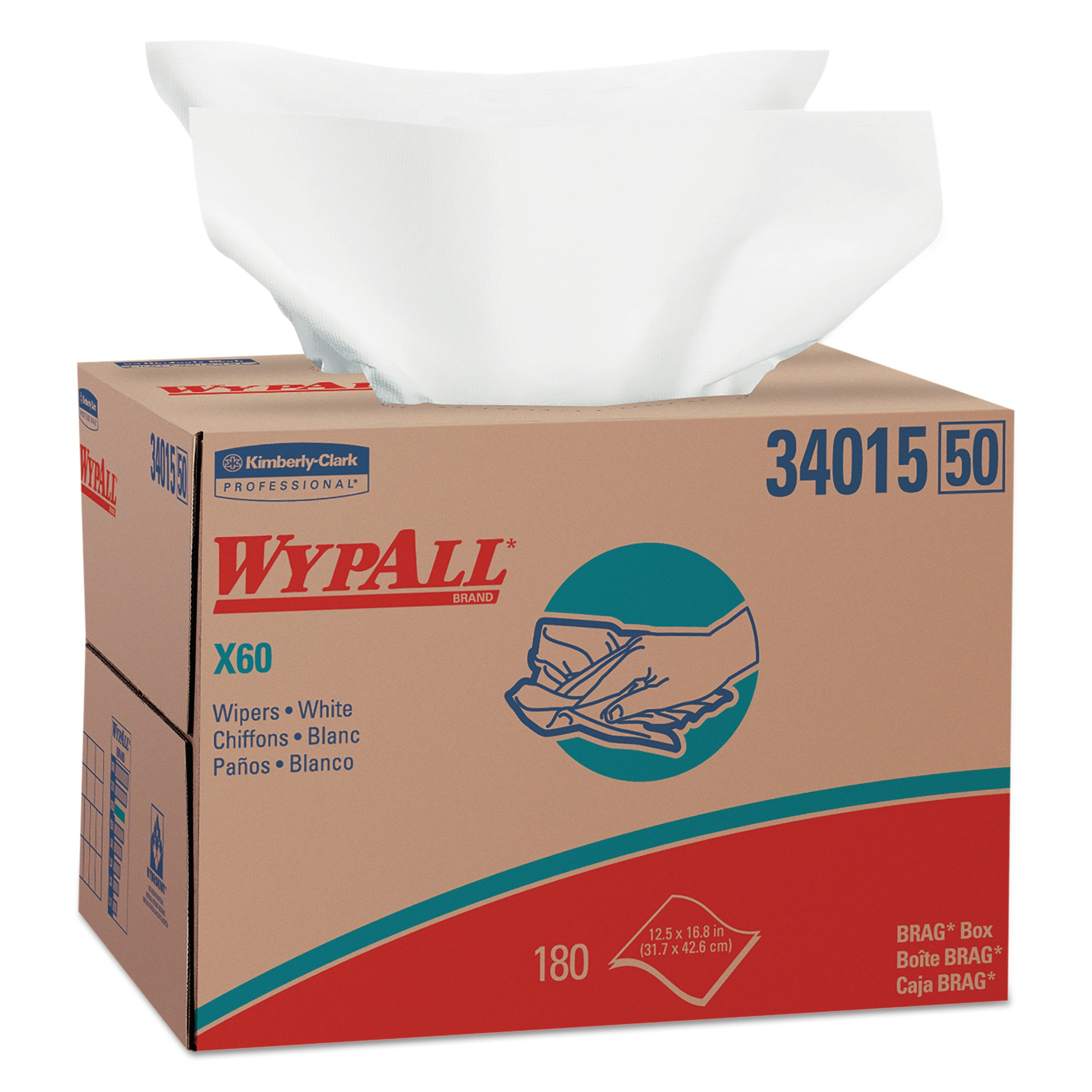 Wypall X60 Reusable Cloths (34015) in Brag Box, White, 180 Sheets/Box, 1 Box/Case