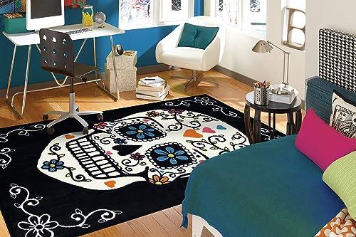 Mohawk Home Aurora Sugar Skull Dia de los Muertos Area Rug, 5 x 8 , Rainbow