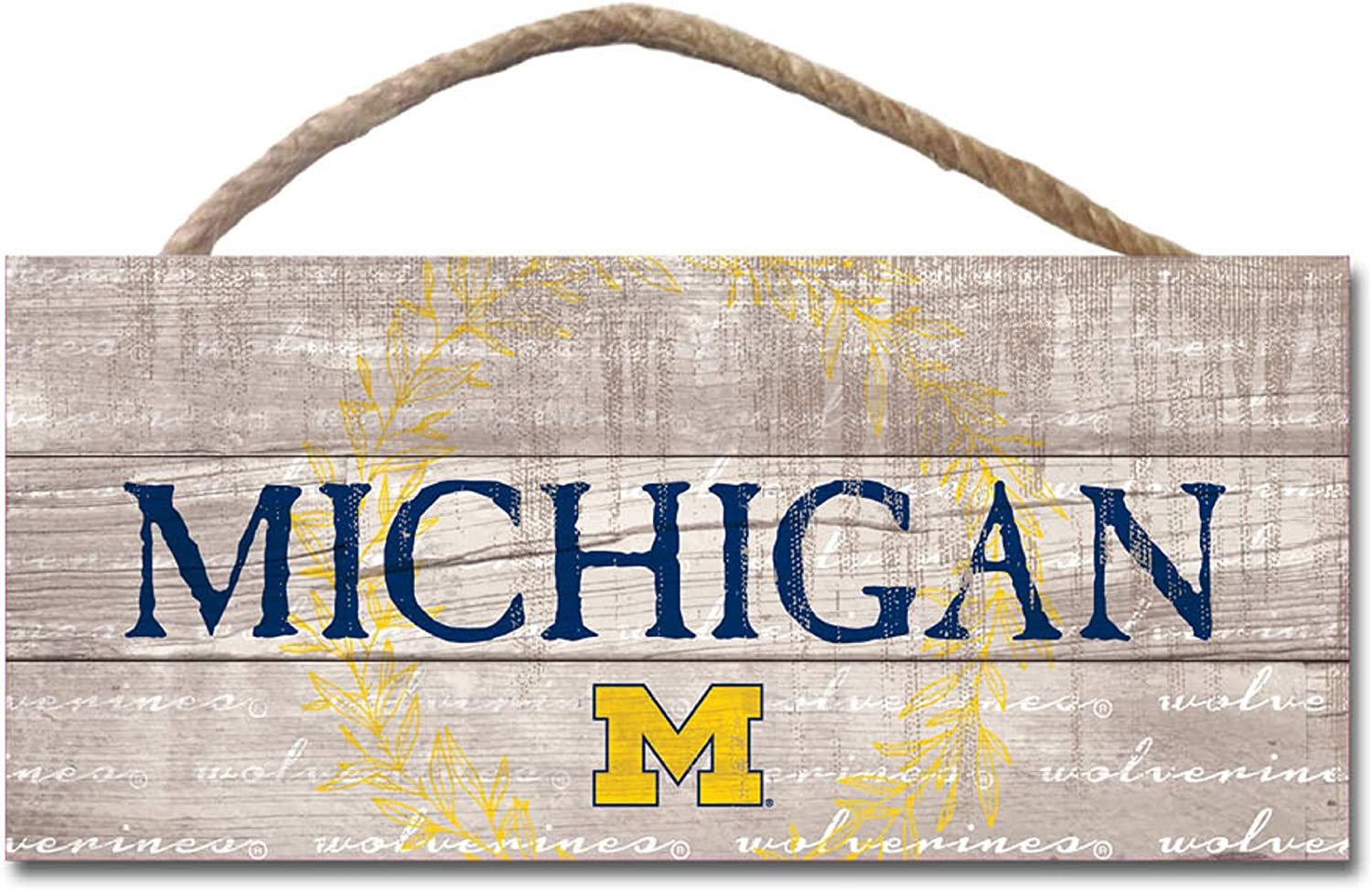 One Size Wood NCAA Legacy Michigan Wolverines Showcase Wood Plank Sign 25x36
