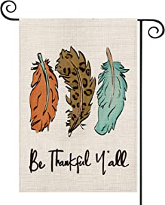 AVOIN Fall Watercolor Leopard Feather Garden Flag Vertical Double Sized, Autumn Be Thankful Y'all Harvest Thanksgiving Yard Outdoor Decoration 12.5 x 18 Inch