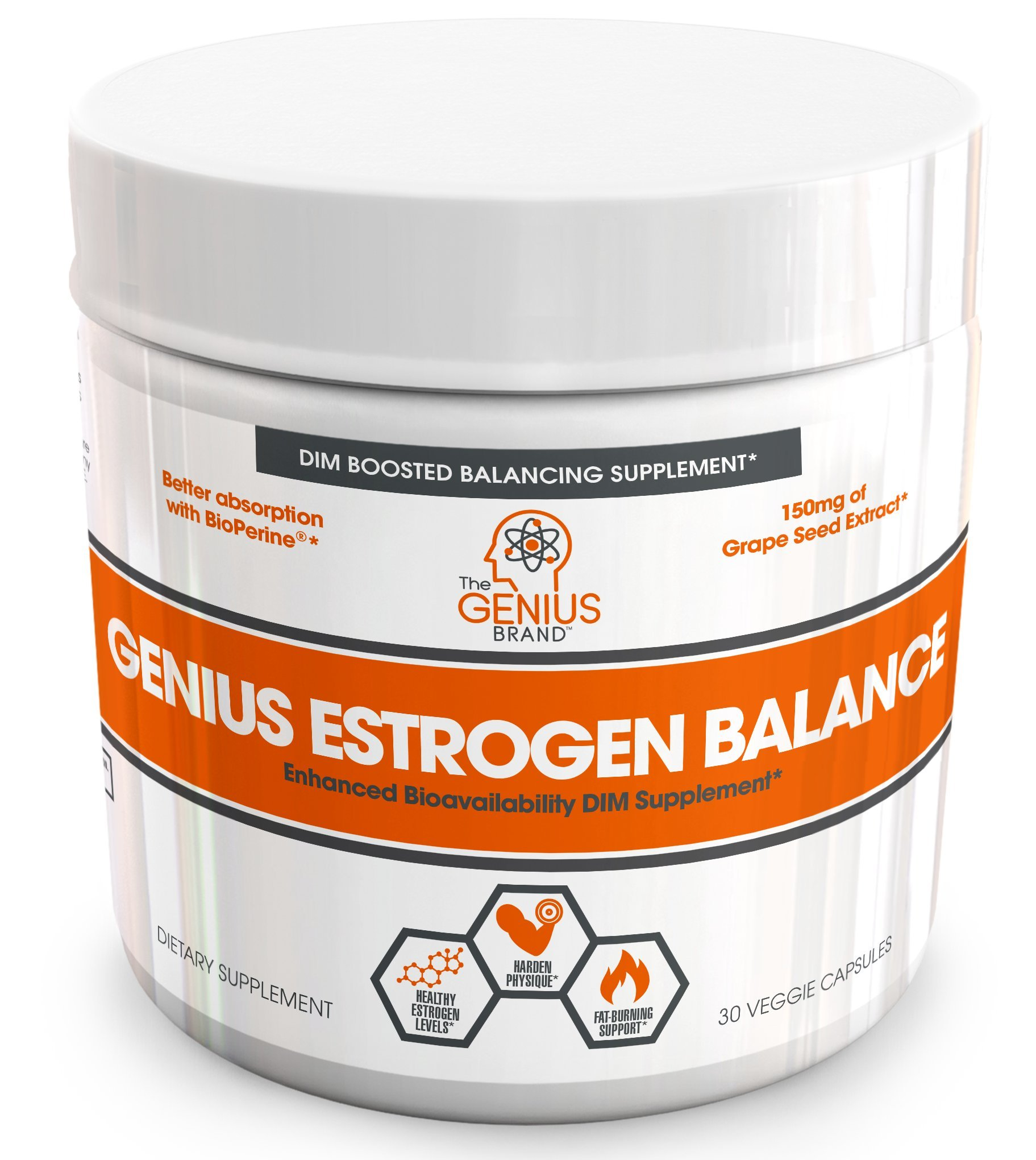 Genius Estrogen Balance – DIM Supplement w/ Grape Seed Extract, Dual Estrogen Blocker for Men & Hormone Balance for Women – Aromatase Inhibitor – Cortisol Manager & Thyroid Support, 30 Veggie Pills