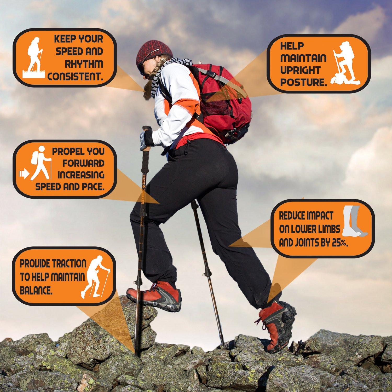 Carbon Fiber Trekking Poles collapsible Lightweight Hiking Stick Premium Trekking Pole Walking Sticks for Women Hiking Poles for Men