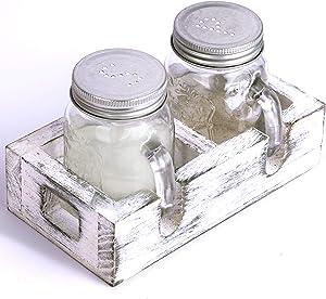 Farmhouse Salt and Pepper Shakers / Mini Mason Jar Salt and Pepper Shaker Set / Kitchen Table Decor / Rustic Kitchen Salt Shaker Holder / Mason Jar Kitchen Decor