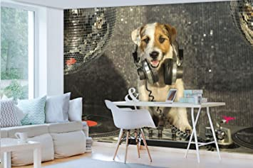 Forwall Fototapete Vlies Tapete Moderne Wanddeko Dj Disco Hund Mit Kopfhorer Vexxl