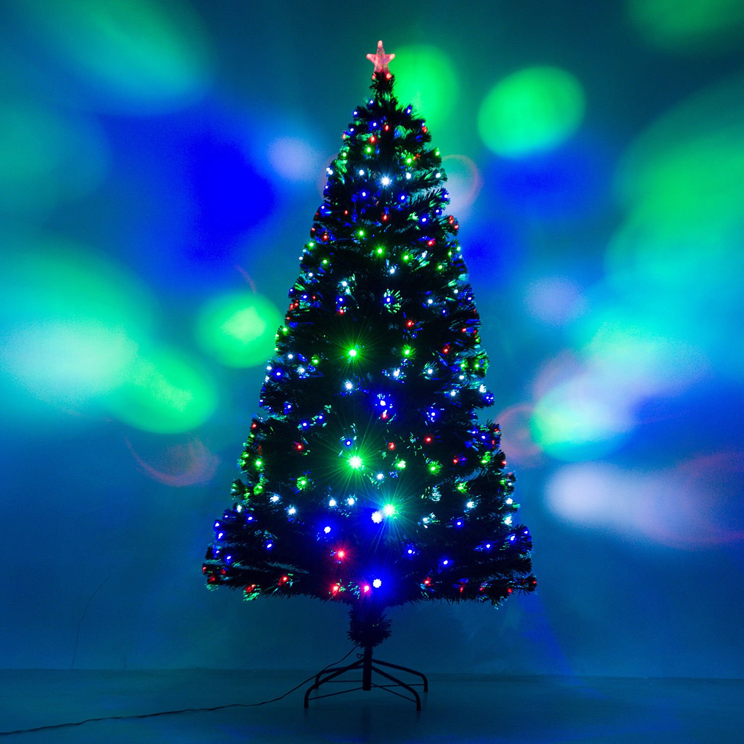 7' Artificial Holiday Fiber Optic / LED Light Up Christmas Tree w/ 8 Light Settings and Stand
