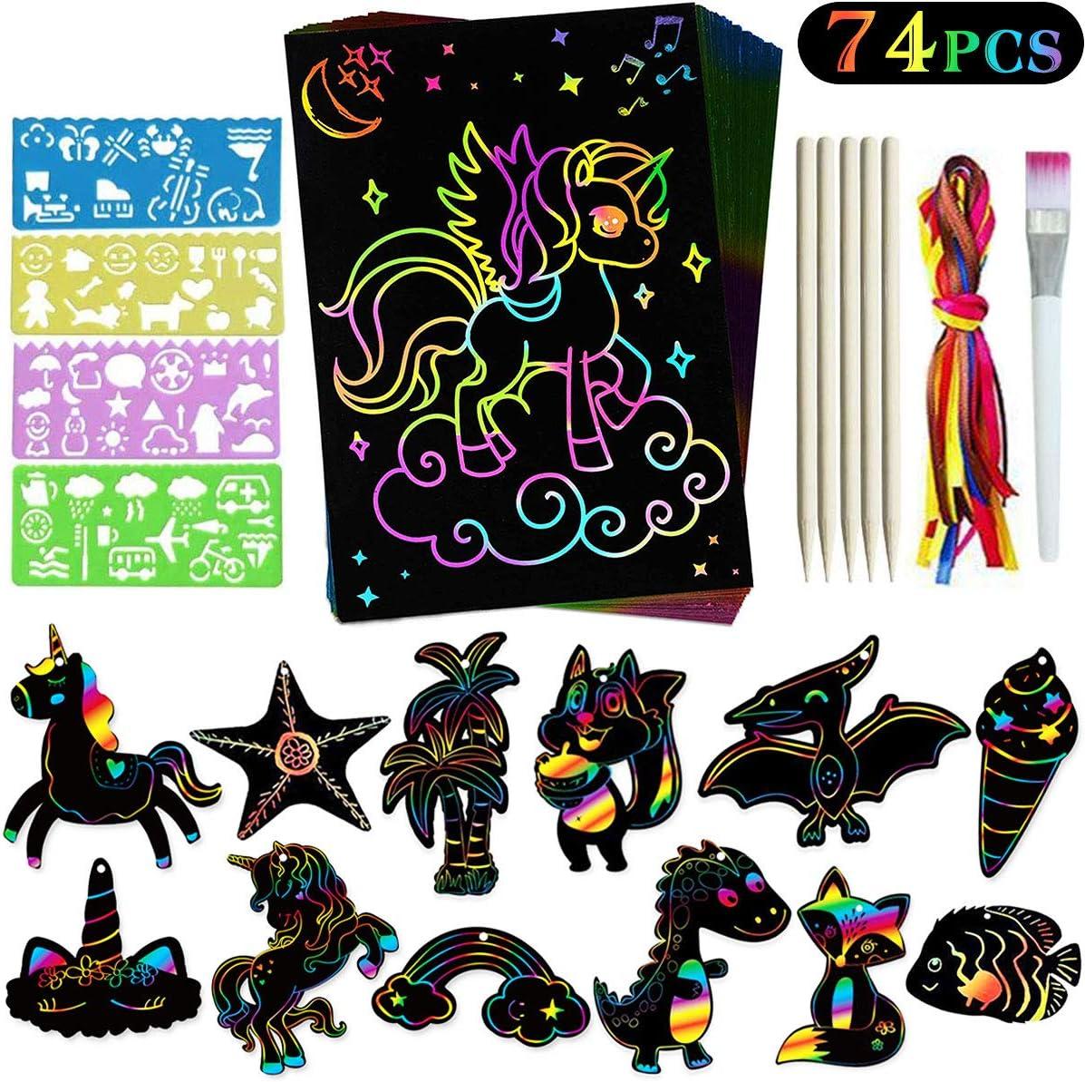Yegrape Scratch Art Set for Kids Rainbow Classroom School Supplies Birthday Party Favors Game Crafts Gift for Children Girls Boys 36 Pcs Rainbow Magic Scratch Paper Art Supplies Decoration