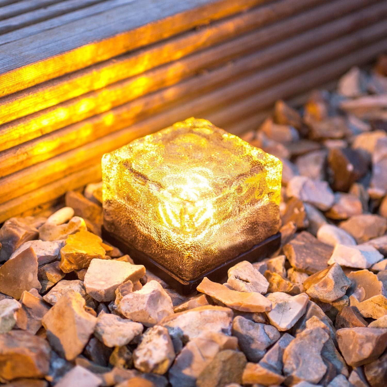 Solarlampe wasserdicht Eiswürfelform Wegelampe bunte
