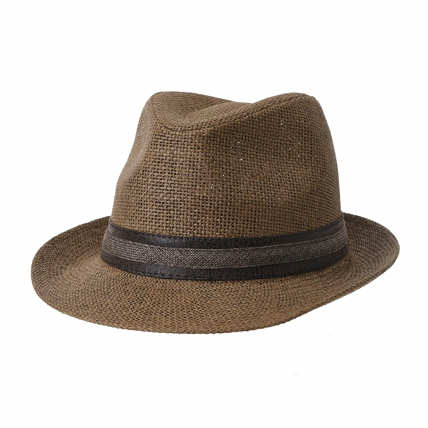 WITHMOONS Fedora Hat Summer Cool Paper Straw Trilby Band Men CR6952 CR6952Beige
