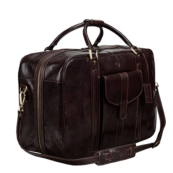 be57d6416efb Maxwell-Scott® Luxury Brown Mens Real Leather Travel Duffle (The Maurizio)