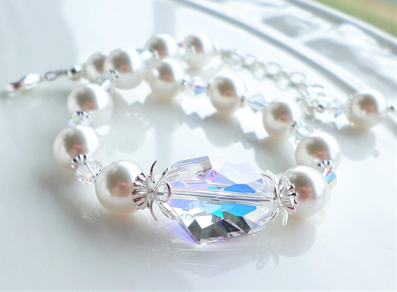 Amazon.com  White Pearl Crystal AB Swarovski Wedding Bracelet  Handmade f06dc48b2d