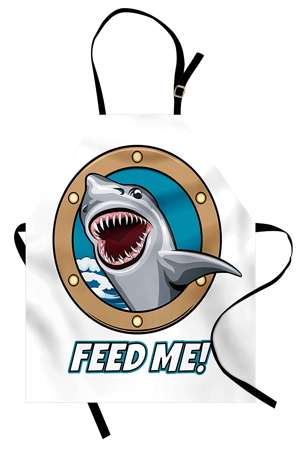 Ambesonne Shark Apron, Funny Vintage Feed Me Quote with Hungry Hound Shark Head in Ship Window Humor Print, Unisex Kitchen Bib Apron with Adjustable Neck for Cooking Baking Gardening, Multicolor