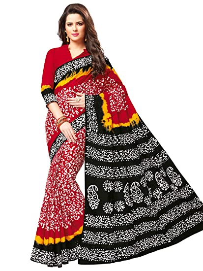 c42e3289f0639e Jevi Prints Women's Cotton Red & Black Wax Battik Print Saree with Blouse  Piece (B-311): Amazon.in: Clothing & Accessories