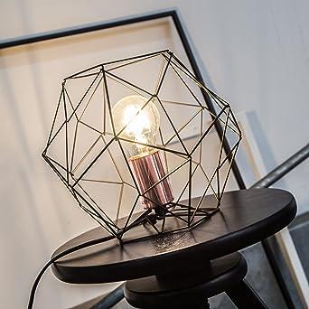 Lampe De Table Retro Retro En Treillis De Cuivre Vieilli H 185 Cm