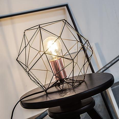 Lámpara de sobremesa de rejilla de cobre retro en aspecto vintage, H 185 cm, Ø 22 cm, 1x E27 max. 60W, metal, negro / cobre