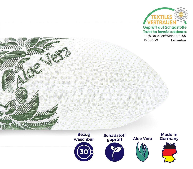 Mister Sandman Oreiller 80x80 cm Polyester Housse Microfibre Aloe Vera Housse Lavable certifi/é Oeko-TEX Housse Respirante aux extraits dALOE Vera Douceur Incomparable