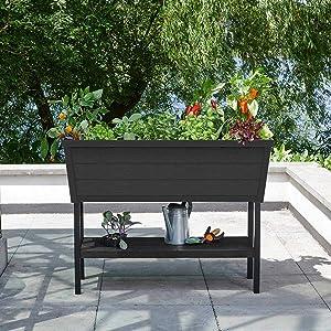 KETER XL Urban Bloomer Resin Elevated Planter Raised Garden Bed