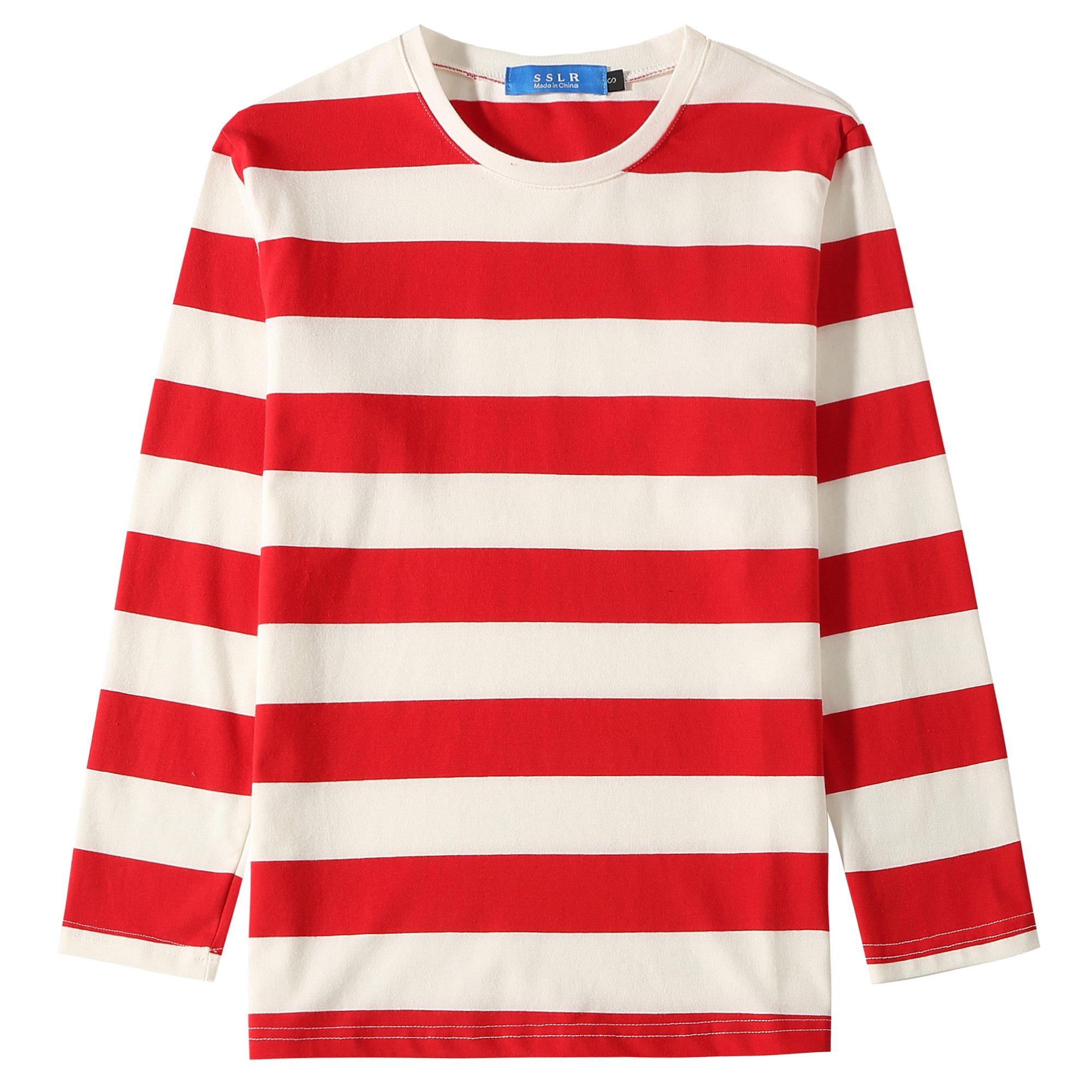 SSLR Big Boys' Cotton Round Neck Casual Long Sleeves Stripe T-Shirt (Large(14-16), White Red)