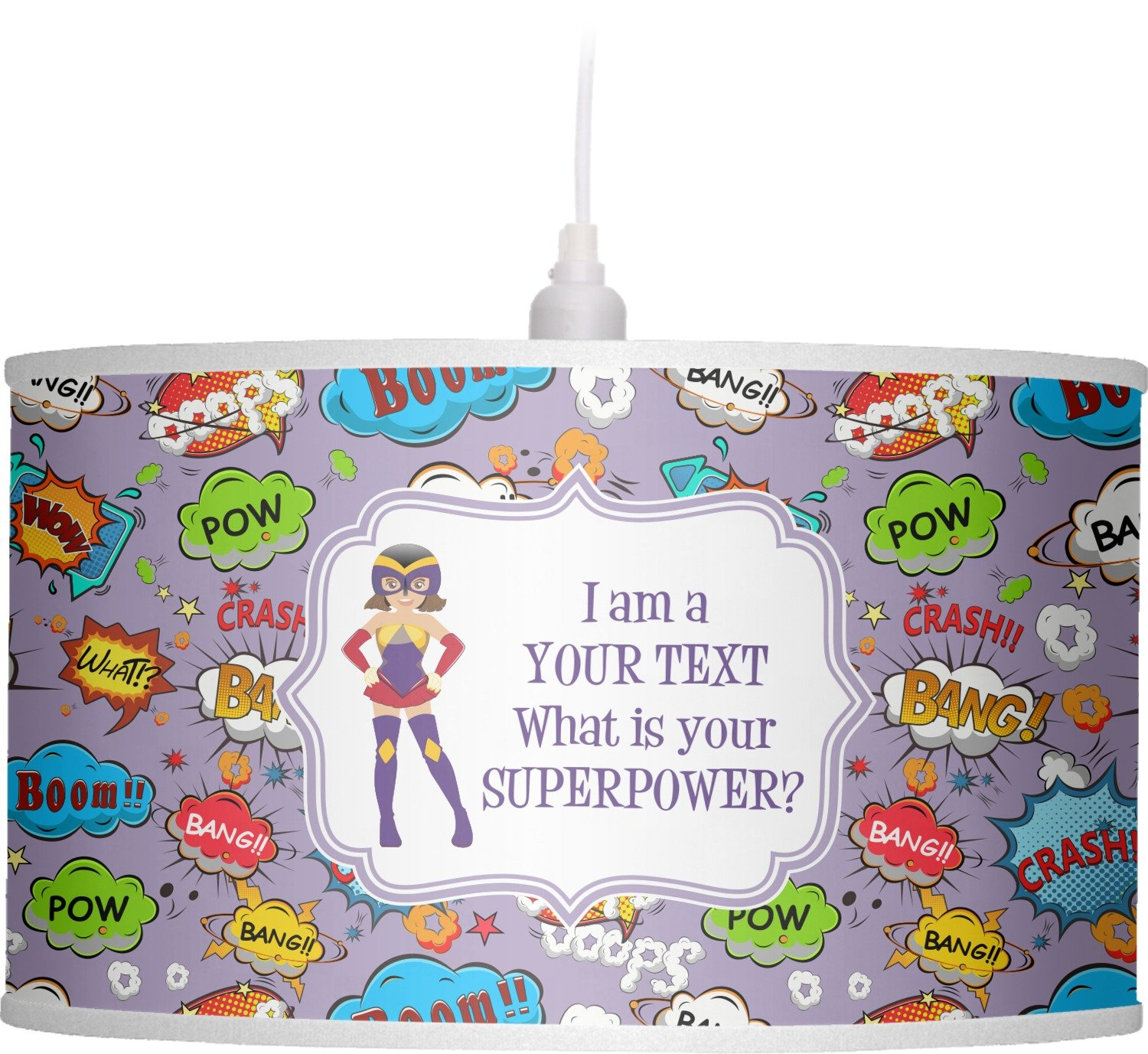 RNK Shops What is your Superpower Drum Pendant Lamp Polyester (Personalized)