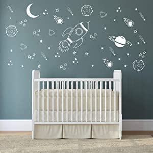 Space Wall Decal Nursery, Outer Space Decor, Rocket Decal, Boy Room Decor, Space Ship Decal, Space Themed Room, Planets Wall Decal for Baby Boys Nursery A37 (White)