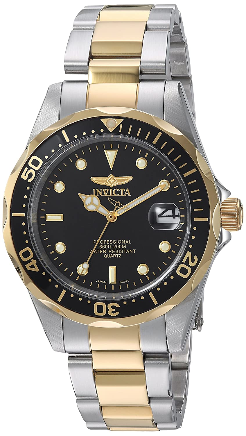 """Amazon.com: Invicta Men's 8934 """"Pro-Diver Collection"""" Two-Tone Stainless  Steel Watch, Silver-Tone/Black: Invicta: Watches"""
