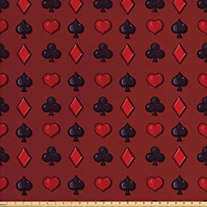 Lunarable Poker Fabric by The Yard, Suits of Cards Pattern with Clubs Spades and Hearts on an Abstract Red Background, Decorative Fabric for Upholstery and Home Accents, 2 Yards, Black Ruby