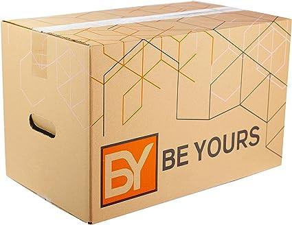 BEYOURS Pack de 10 Cajas Carton Mudanza Grandes con asas - 500x300x300 mm en Cartón Doble - Cajas Mudanza Ultra Resistentes - Cajas Almacenaje ECO-FRIENDLY ...