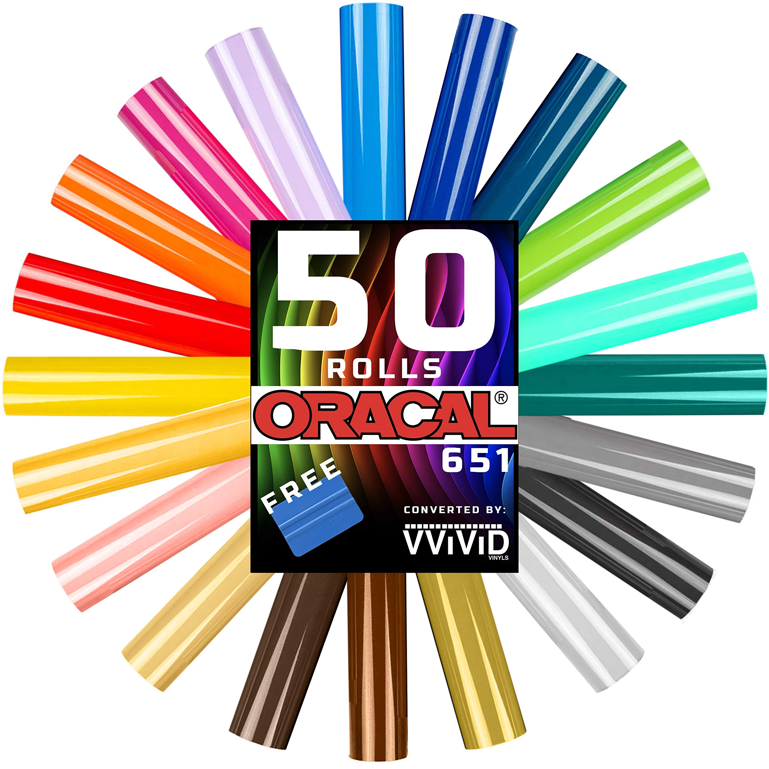Oracal 651 Choose Your Own Colors roll Pack 12'' x 60'' per roll w/Squeegee (50 Rolls)