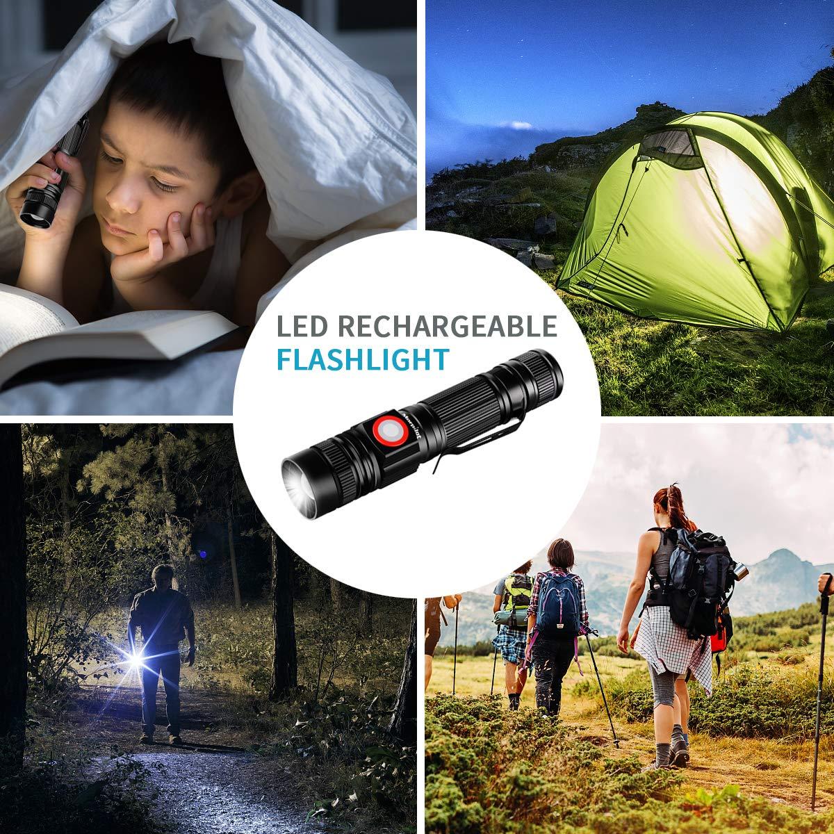 Linterna USB, Morpilot Linterna Recargable con Cable USB, Linterna LED Tácica Militar con 18650 Batería Incorporada incluida, Alcance 350m 5 Modos Zoomable, Resistente Impermeable