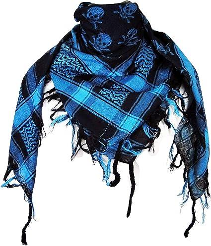 "BLUE WITH BLACK SKULLS HEAD SCARF// BANDANA 42X42/"""