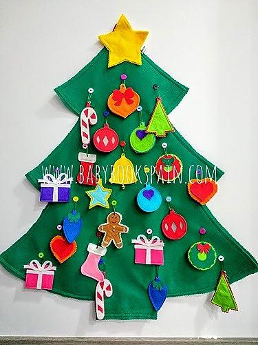 HECHO EN ESPAÑA,Árbol de Navidad de fieltro, Árbol de Navidad para niños, Árbol de Navidad de pared, Contiene 24 adornos a modo de adviento BABYBOOKSPAIN: Amazon.es: Handmade