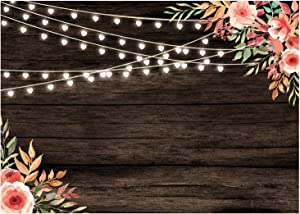 Sunlit Floral Wedding Photo Backdrop 7x5 ft, Rustic Wood Photography Background, Flower Heart Lights