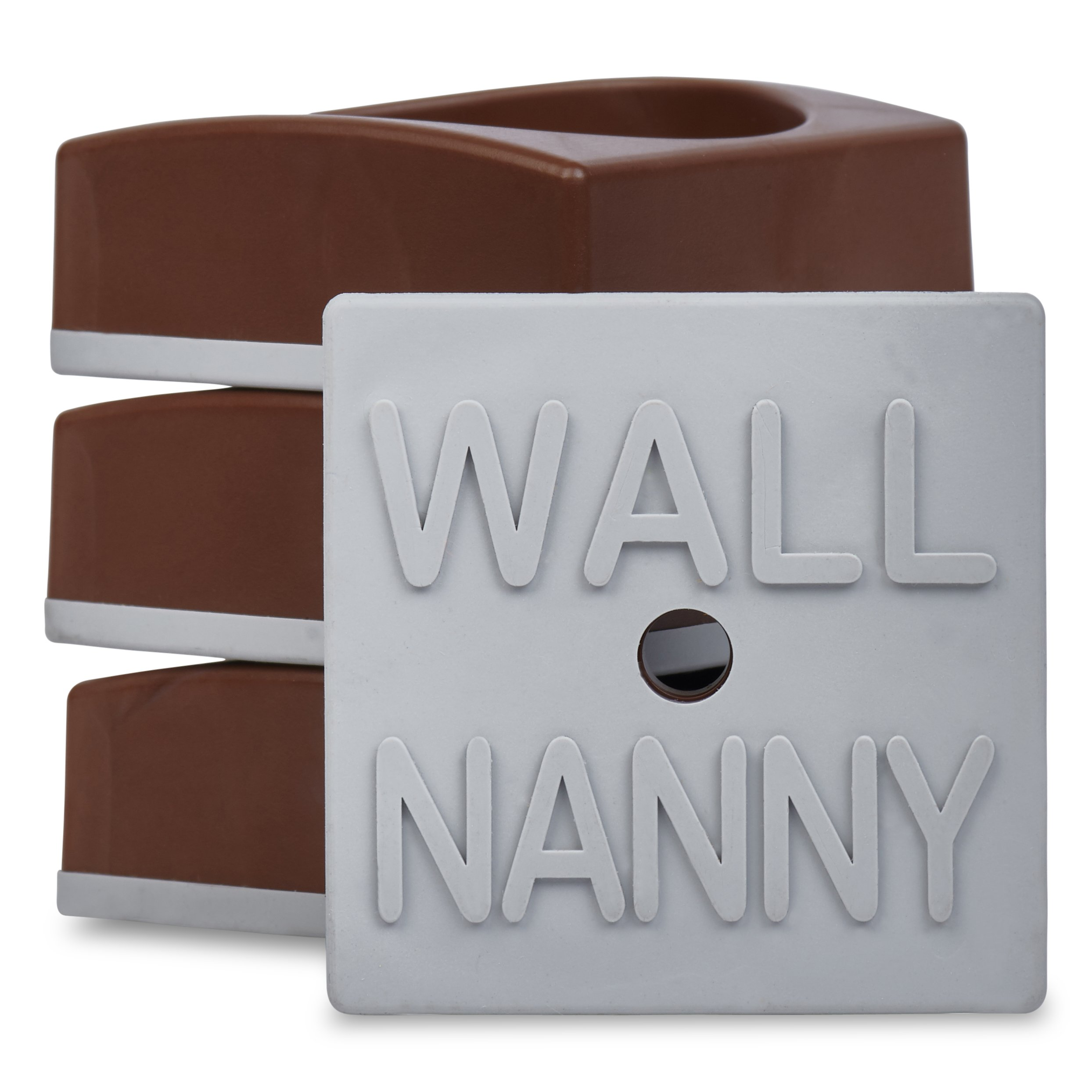 Wall Nanny Mini (4 Pack - Made in USA) Smallest Low-Profile Wall Protector for Baby Gates - Perfect in Doorways - Best Saver Cups Guard Trim & Paint for Child Dog Pet & Safety Pressure Gate (Brown)