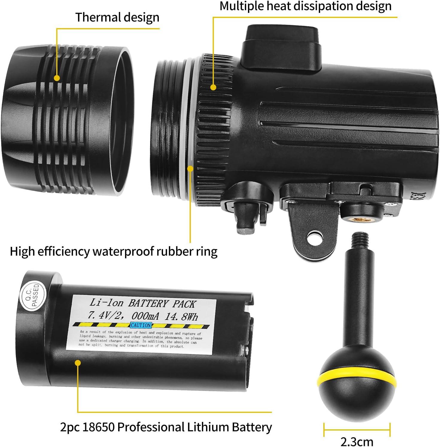 60m UnterWasser LED Light Foto Video Tauchen Taschenlampe Für GoPro Hero