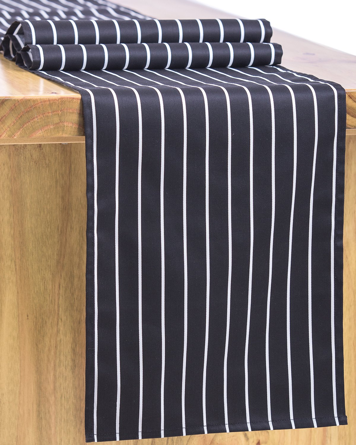 Letjolt Classical Black Striped Table Runner for Wedding Decorations Bachelorette Party Decorations Off to College Decorations, 12'' x 72''