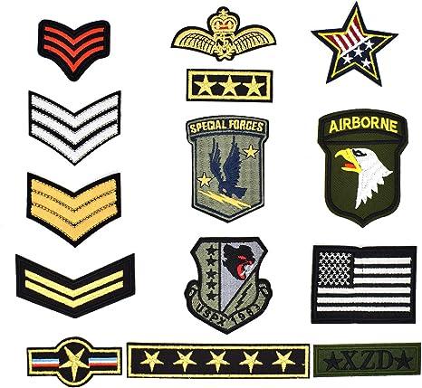 Riao-Tech - Juego de 14 parches militares bordados para coser o ...