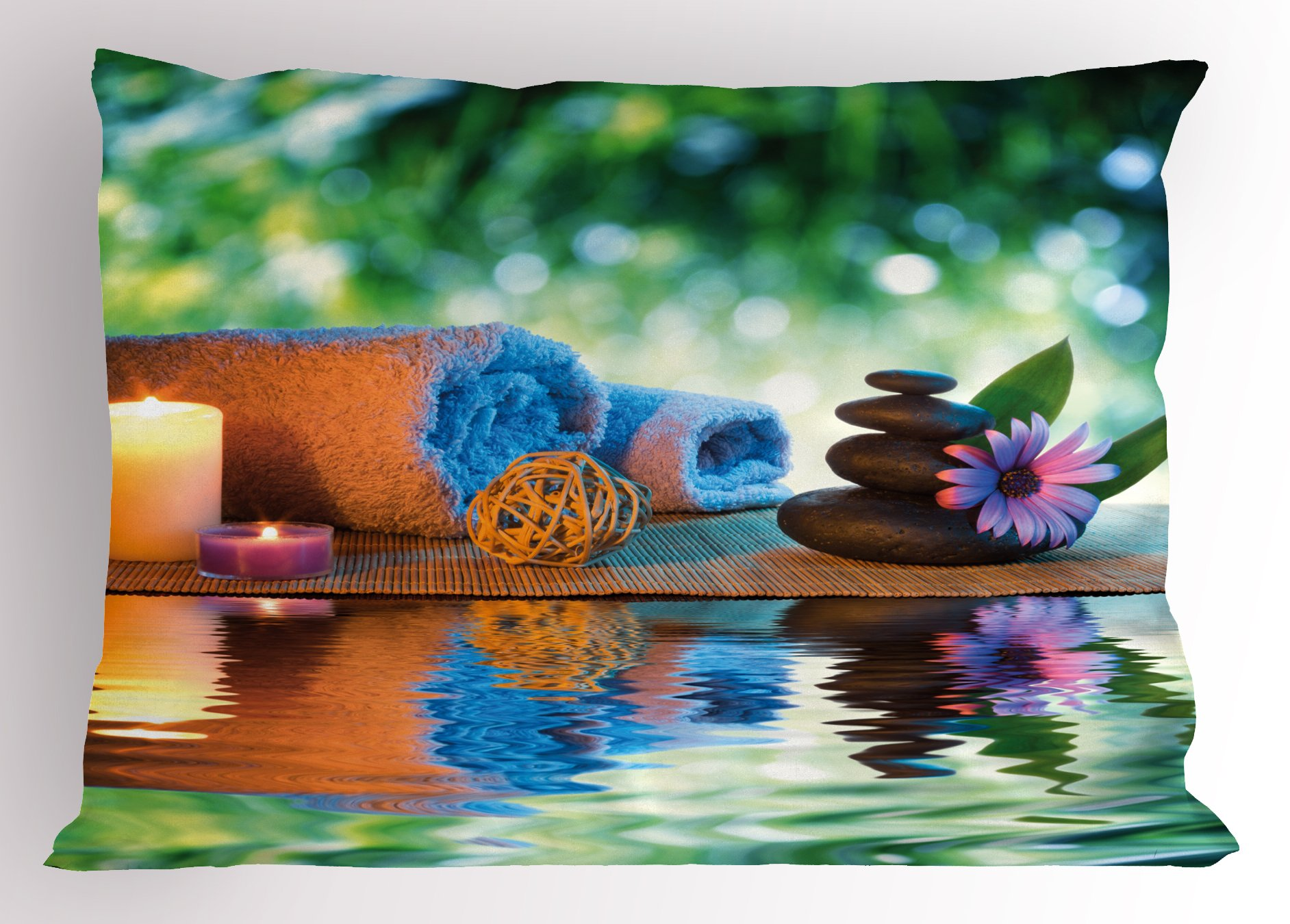 Lunarable Spa Pillow Sham, Asian Culture Inspiration Chinese Japanese Candles Zen Meditation Stones, Decorative Standard Size Printed Pillowcase, 26 X 20 inches, Green Orange Lavander