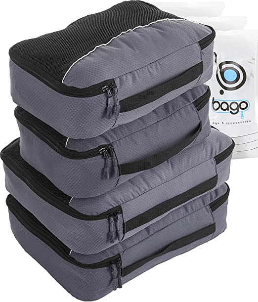 Bago Packing Cubes For Travel Bags - Luggage Organizer 10pcs Set ( Gray )