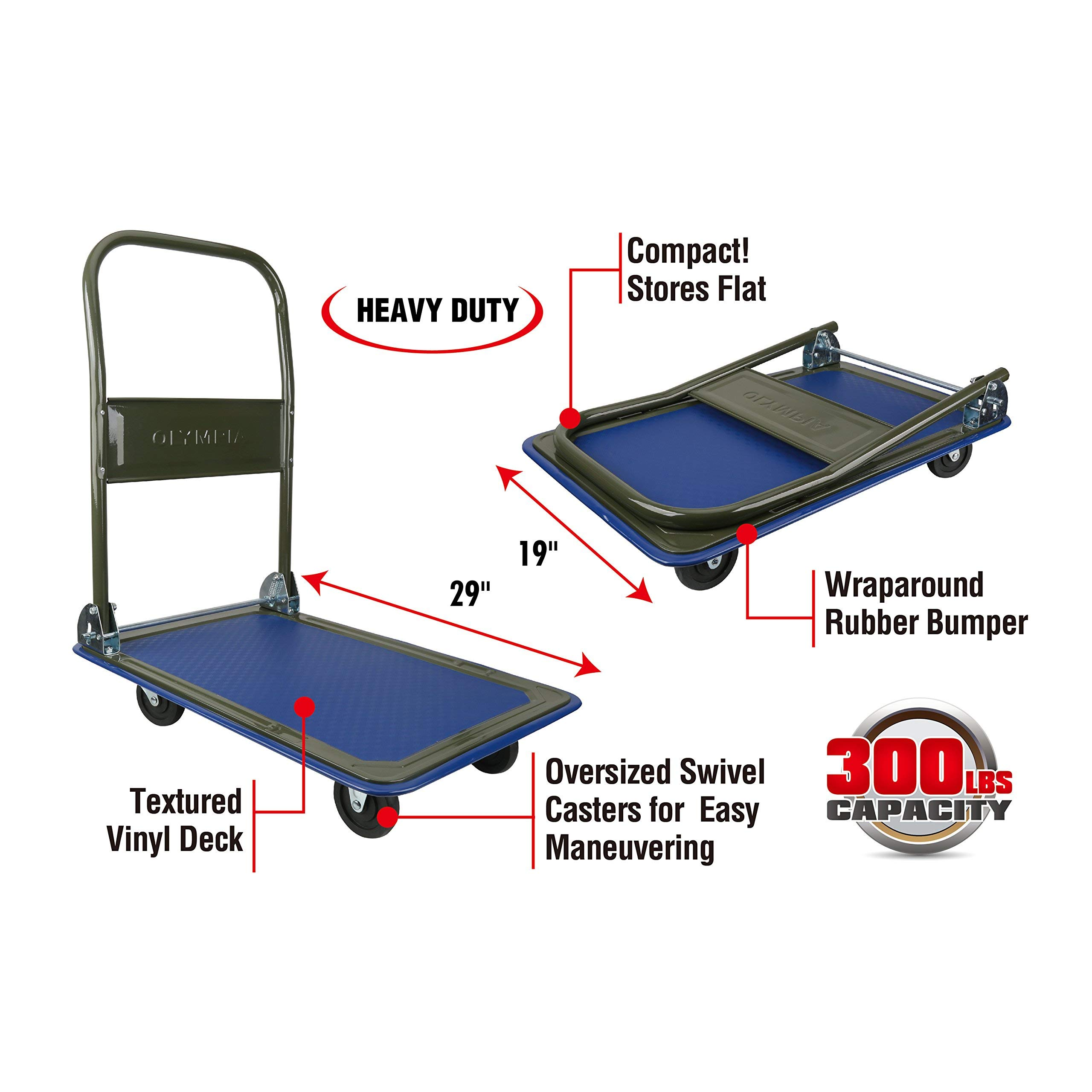 Olympia Tools 85-180 300LB Folding Rolling Flatbed Cart Hand Platform Truck Push Dolly for Loading, Olive Green with Blue Bumper (Renewed)