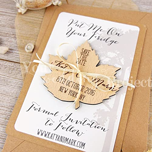 251455aa540e0 Amazon.com: Save the Date Magnet, Leaf Save the Date, Wood Save the ...