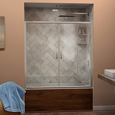 DreamLine Visions 56-60 in. Width, Frameless Sliding Tub Door, 1/4 ...