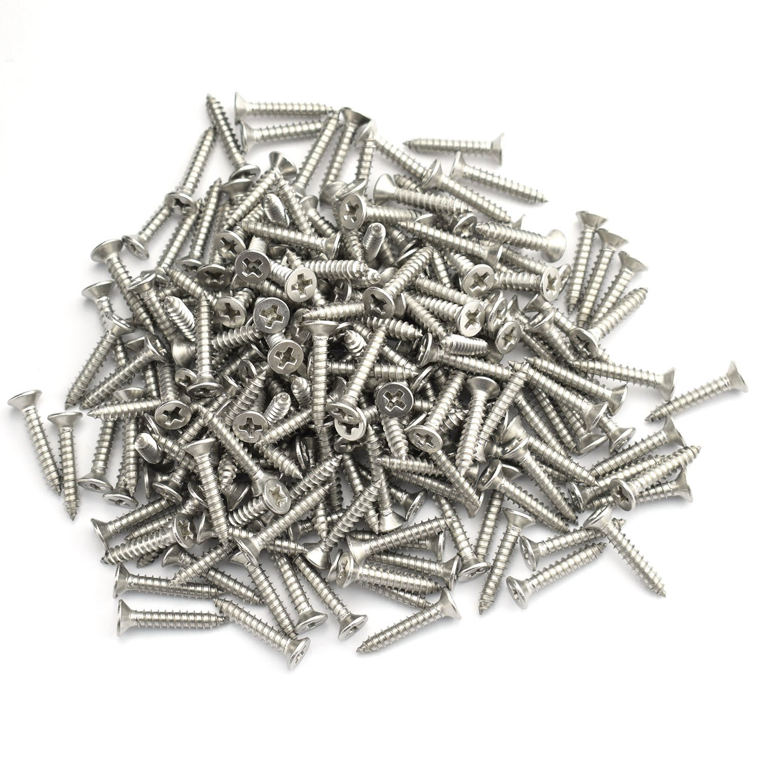 200pcs #6 x 3/4'' Self Drilling Screw 304 Stainless Steel Hardware Accessories Philips Drive Flat Head Self Tapping Screw 20mm by Ruiling (Image #3)
