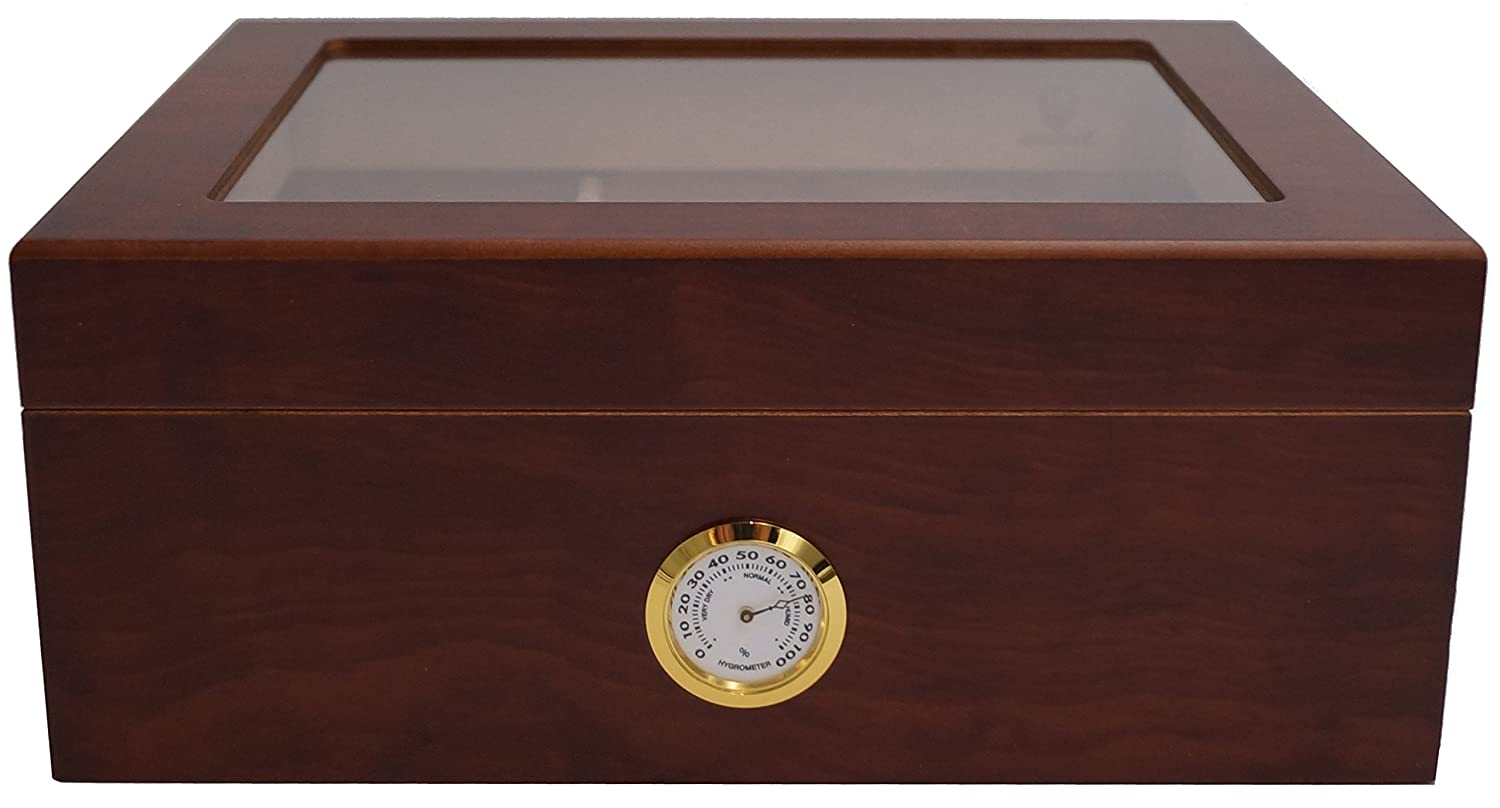 Brown 50 Cigars GERMANUS Cigar Humidor Classic Desk for Approx with Hygrometer and Humidifier and GERMANUS Manual