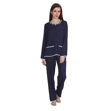 2ed2c5d226 Patrorna Cotton Silk Blend Women s Top and Pyjama Set Night Suit in Navy  Polka Dot (