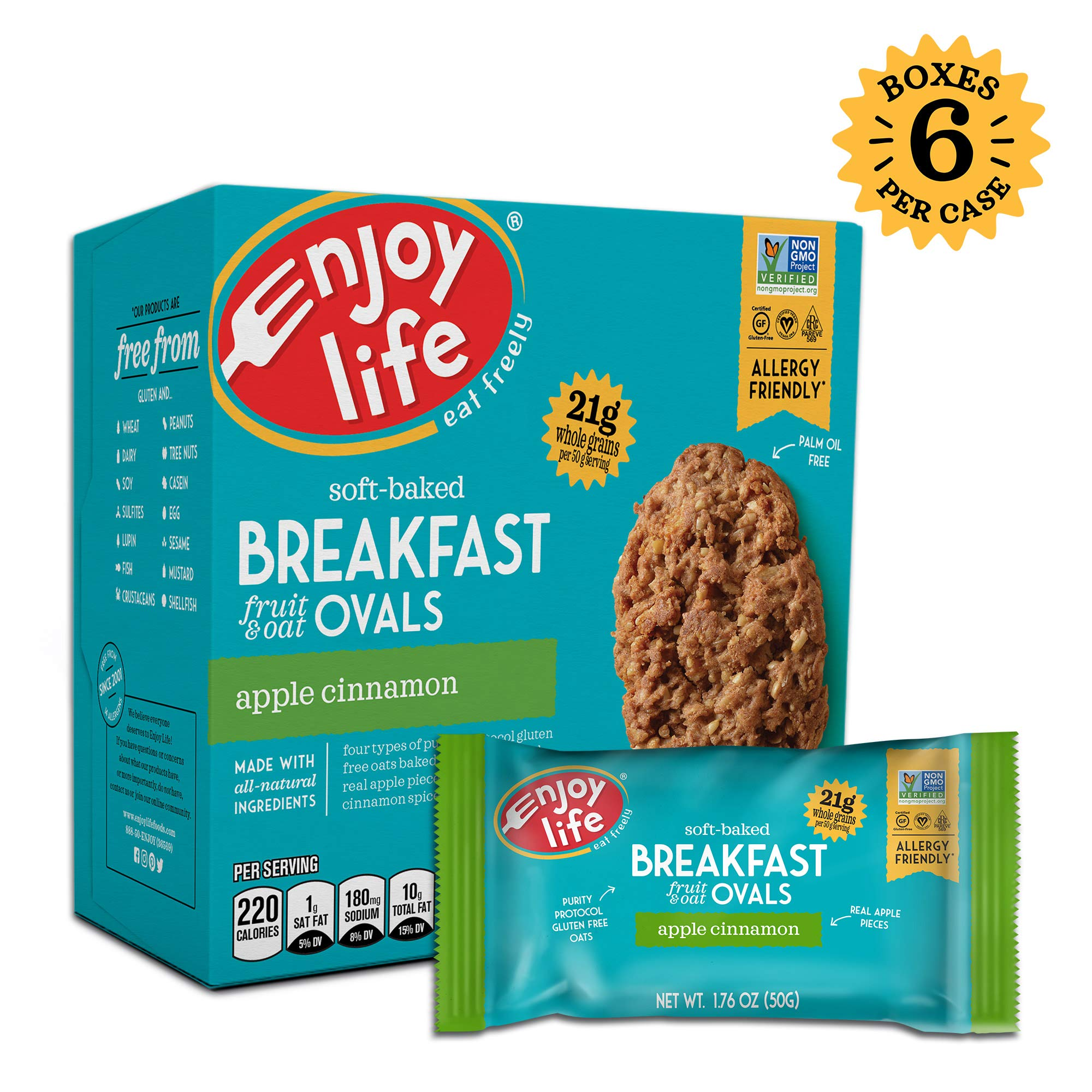 Enjoy Life Gluten Free Nut Free & Vegan Breakfast Cookies, Apple Cinnamon, 6 Count Boxes, 30 Bars by Enjoy Life Foods