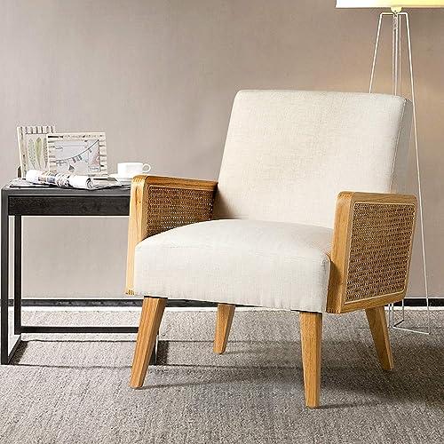 Delphine Cane Fabric Linen Accent Chair