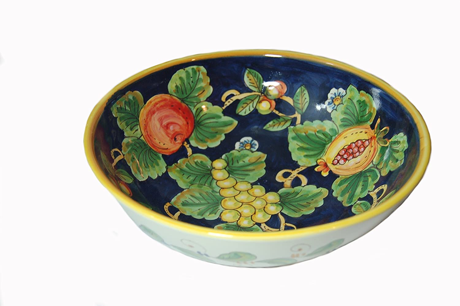 Frutta Blu Hand Painted Italian Ceramic Large Serving Bowl Made in Italy