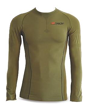 Xtech Camiseta Tecnica Transpirable Invierno Cuello Redondo Manga Larga Hombre Verde 2 X L-3 X L: Amazon.es: Deportes y aire libre